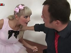 Naughty ballerina down to welcome sweet cock in hungry mouth