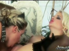 Amazing lesbian pussy loving adventure on couch