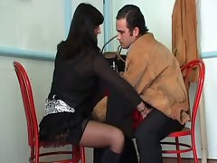 Horny mature brunette seduces customer at the local deli
