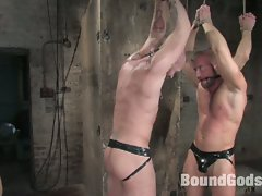 Bound muscled gay hunks tortured and fucked hard