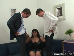 Her old fat pussy is nailed by two cocks
