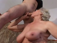 Hot blonde granny fucked by young dick