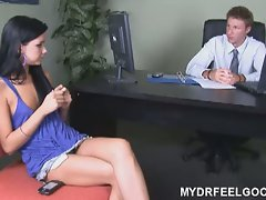 Hot brunette tanner fucks her shrink for therapy