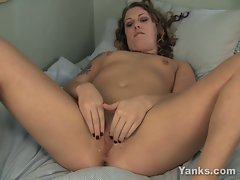 Annika toying and fingering her shaved pussy