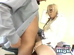 Petite blonde asian gets her tight pussy rammed by her teacher