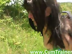 Brunette Britney Sucks Cock Outdoors