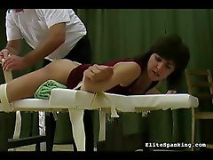 The girl gets a very painful spanking