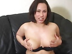 Curvy babe showing her tits while talking about masturbation