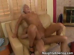 Slim and sexy blonde rides a fuck stick