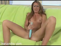The big vibrator makes her clit feel so good