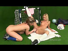 Girls having fun with mini soccer balls