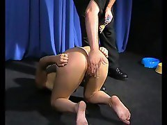 Girl is treated like a dog and spanked