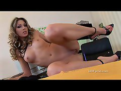 Sexy chick in black lingerie playing naughty in the office