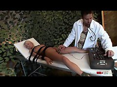 Doctor gives his patient electro shock therapy