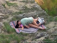 Napping girl fucked hard outdoors