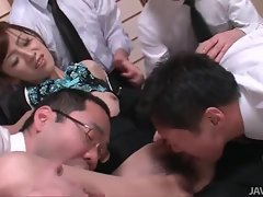 Fondled by four Japanese guys and sucking dick