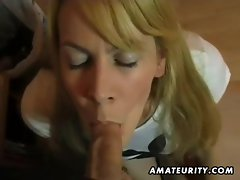 Busty amateur girlfriend sucks and fucks and eats cum