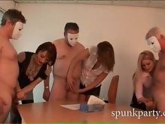 Lucky men with masks get their cocks stroked by sensual ladies