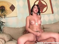Tranny with big fake titties sits on dick