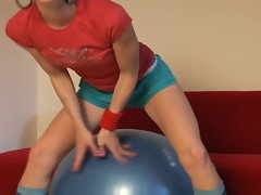 Skinny cute teen Candy plays on exercise ball