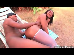 Tapping black pussy outdoors is hot stuff