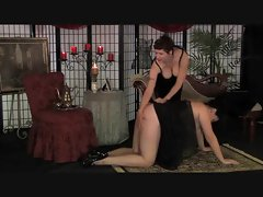 Chubby Mature Femdom Spanking In Stockings