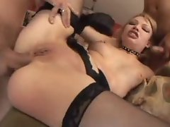 Slut in collar and black gloves DP sex
