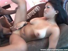 Saucy Asian with hot tan lines fucking black dick