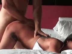 Tattooed bikini girl fucked hard from behind