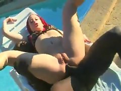 Black cock stretches her ass and pussy outdoors