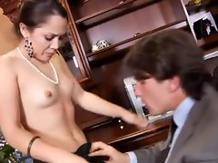 Gorgeous hot cocksucker in office