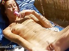 Seductive russian female Natasha with rosy toy