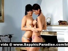 Luscious dark haired lesbos kissing and getting bare and having lezzy love