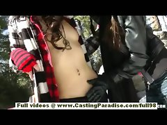 Tuesday Cross and Rilee Marks latina dark haired lesbos with piercing and natural knockers kissing outdoor