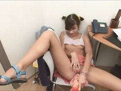 Office young woman masturbating shaggy vagina