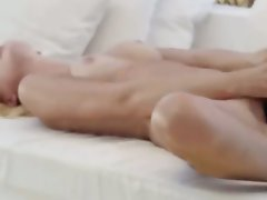 Light-haired lass toying vagina in art movie