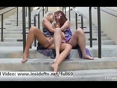 Melody and Lena _ Lez cute chicks kissing and showing her butt and knockers in public