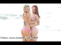 Melody and Lena _ Lez cute chicks flashing their hooters and kissing in public