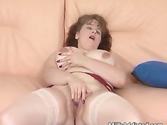 Tempting dark haired Mummy with big hooters plays part6