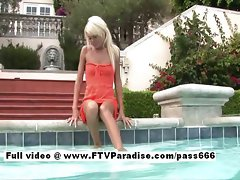 Kori tempting tempting blonde slutty girl in a pool outside