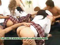 Sensual japanese V slutty chicks have fun with an orgy