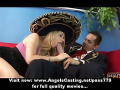 Beautiful blond wench does cock sucking and handjob for spanish lads
