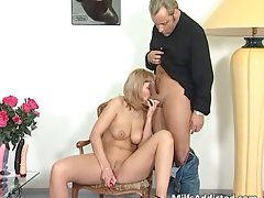 Terrific blondie Mum licks stiff pecker part5