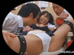 Two attractive duds stripping a barely legal teen asian slave