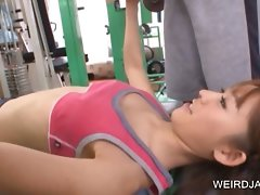 Sporty asian gets tinny knockers rubbed