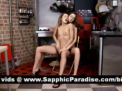 Charming tempting blonde and dark haired lesbos kissing and getting nude in a three way lesbo orgy