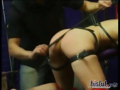 This slutty girl was spanked brutal