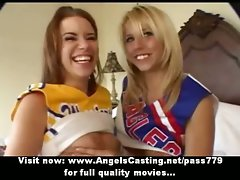 Charming sensual tempting blonde and redhead cheerleader ladies doing hooters massage