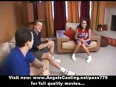 Amateur wonderful dark haired cheerleader sizzling teen talking with two chaps