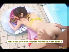 Yua Aida asian does dick sucking and screwing by the pool